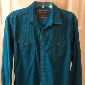 Wrangler Retro Teal/Blue Button Down